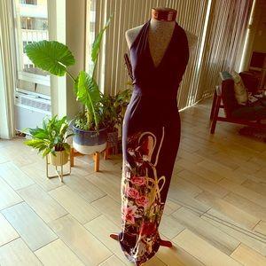 Boohoo blue kimono print halter dress